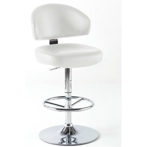 Bingo White Bar Stool In Faux Leather With Chrome Base