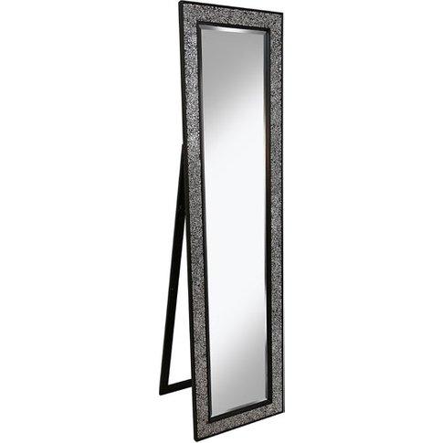 Aliza Floor Standing Cheval Mirror In Black Silver M...