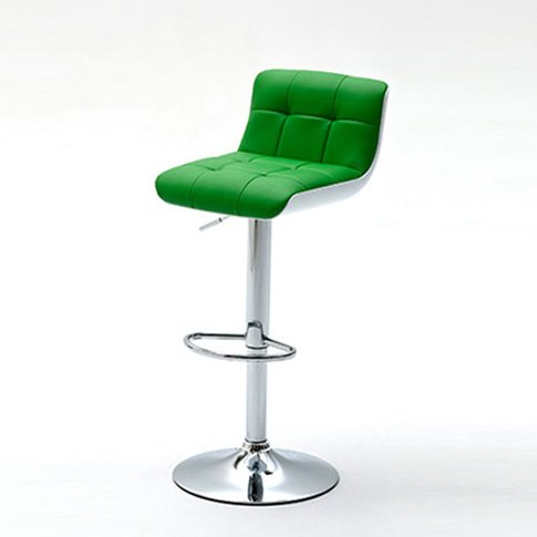 Bob Green Bar Stool In Faux Leather With Chrome Base