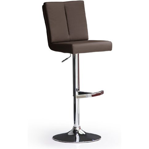 Bruni Brown Bar Stool In Faux Leather With Round Chr...