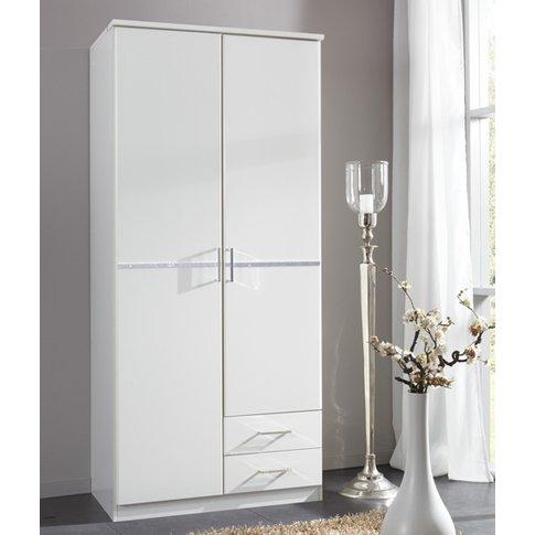 Florence White Wooden Wardrobe With Diamante 2 Door ...