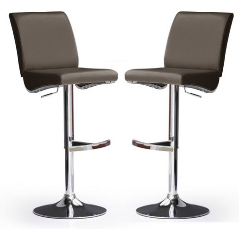 Diaz Bar Stools In Brown Faux Leather in A Pair