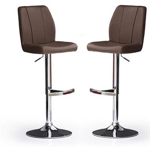 Naomi Bar Stools In Brown Faux Leather in A Pair