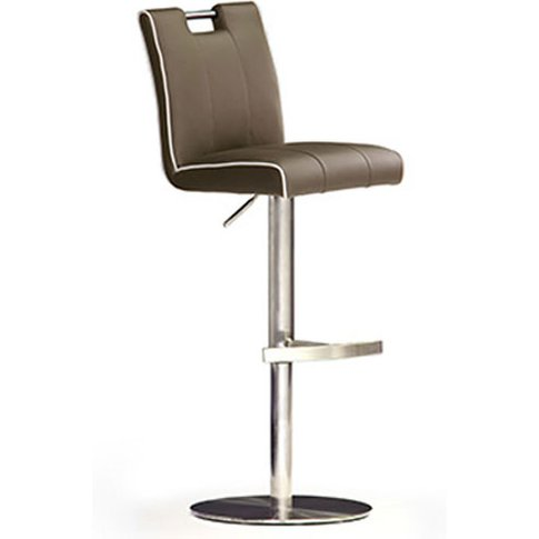 Casta Cappuccino Pu Leather Bar Stool With Stainless...
