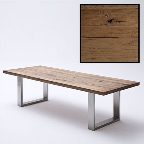 Capello 220cm Bassano Oak Dining Table With Stainless Steel Legs