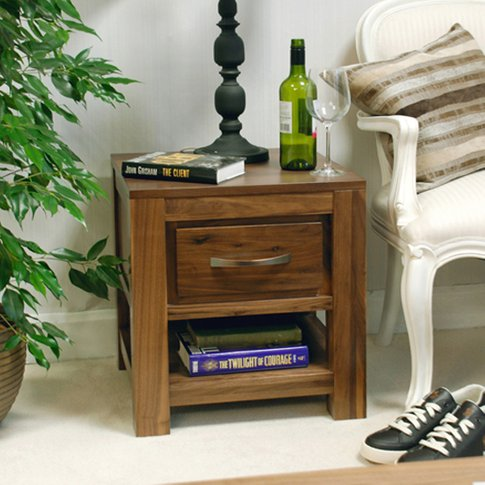Sayan Lamp Table In Walnut With 1 Drawer