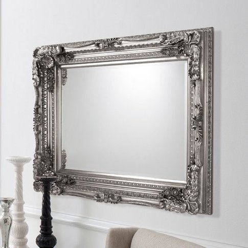 Louisa Rectangular Wall Mirror In Silver With Baroqu...