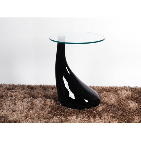 Chilton Lamp Table In Black High Gloss With Clear Glass Top
