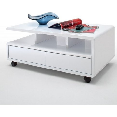 Wessex Coffee Table In White Gloss With 2 Drawers An...