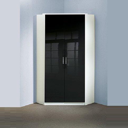 Alton Gloss Black Corner Wardrobe In Alpine White Wi...
