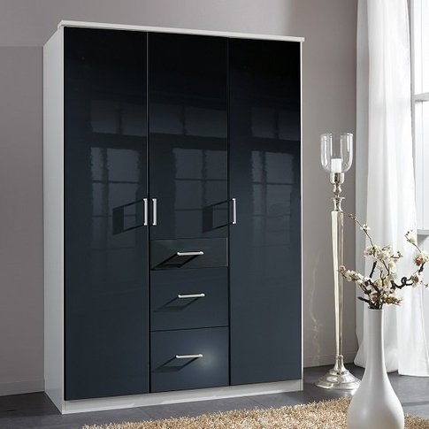 Alton Wardrobe In Gloss Black And Alpine White With ...
