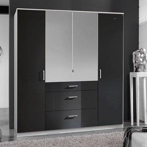 Alton Mirror Wardrobe In Gloss Black Alpine White Wi...