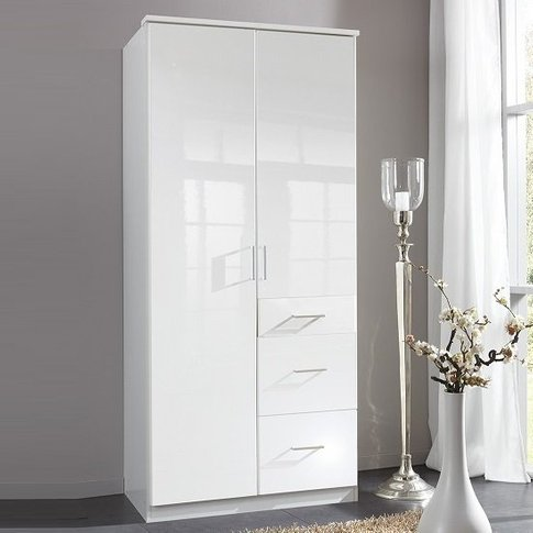 Alton Wardrobe In High Gloss Alpine White With 2 Doo...