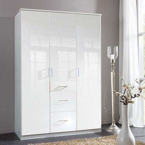 Alton Wardrobe In High Gloss Alpine White With 3 Doo...