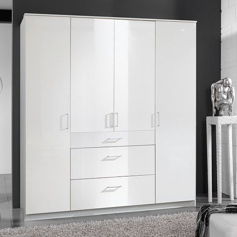 Alton Wardrobe In High Gloss Alpine White With 4 Doo...