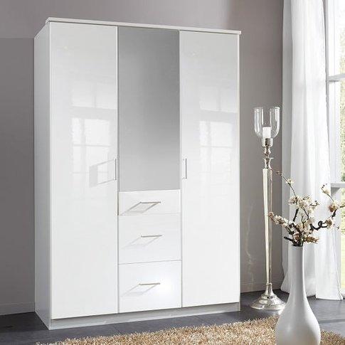 Alton Mirror Wardrobe In High Gloss Alpine White Wit...