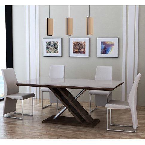 Cubic Dining Table In Beige Glass Top With 4 Crystal...
