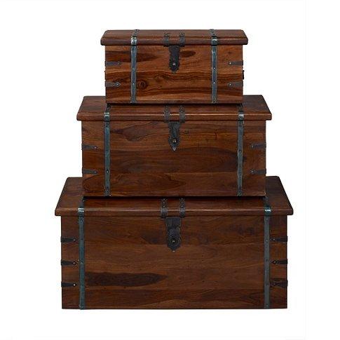 Bursa Set of 3 Storage Trunks Rectangular In Sheesha...