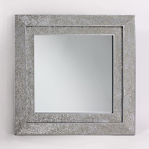 Amber Decorative Wall Mirror Square In Mosaic Silver...