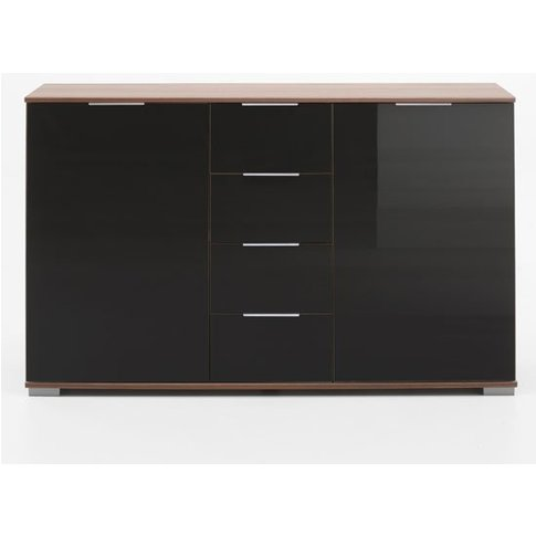 Emission Sideboard In Walnut And Black Glass Fronts ...