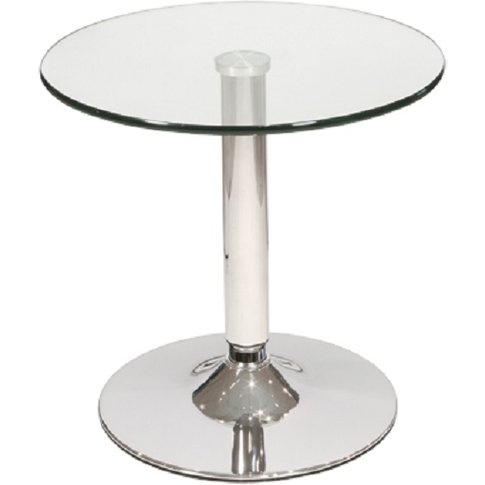 Belize Bistro Side Table In Clear Glass With Chrome ...