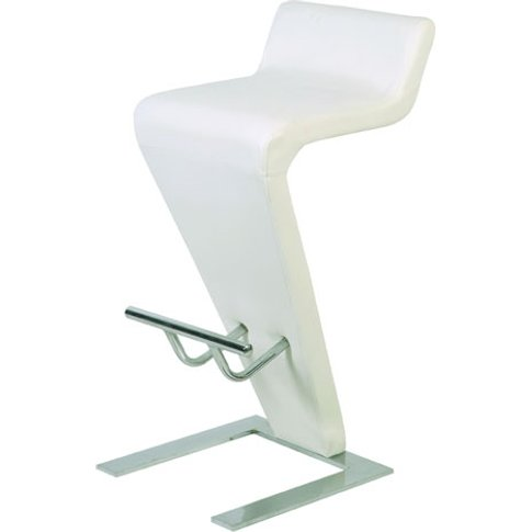 Farello Bar Stool In White Faux Leather With Chrome ...