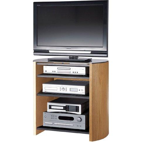 Light Oak Veneer Lcd Tv Stand With 4 Shelves
