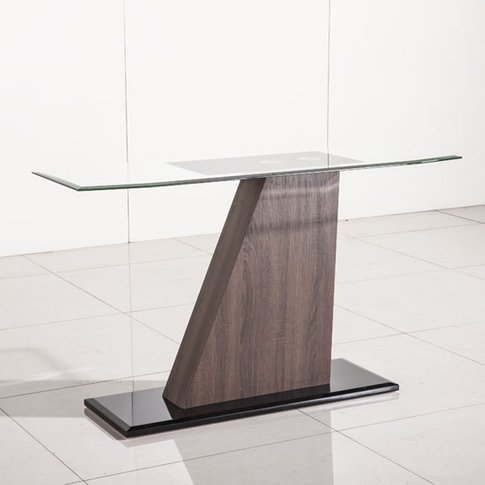 Fabrize Console Table In Glass Top With Walnut And B...