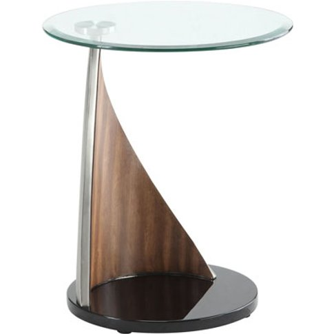 Florence Glass Lamp Table With Walnut And Satin Base