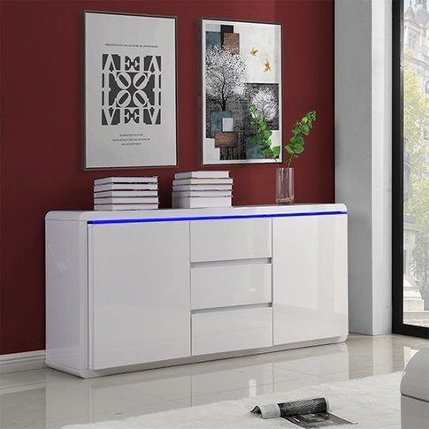 Frame Large Wooden Sideboard In White High Gloss Wit...
