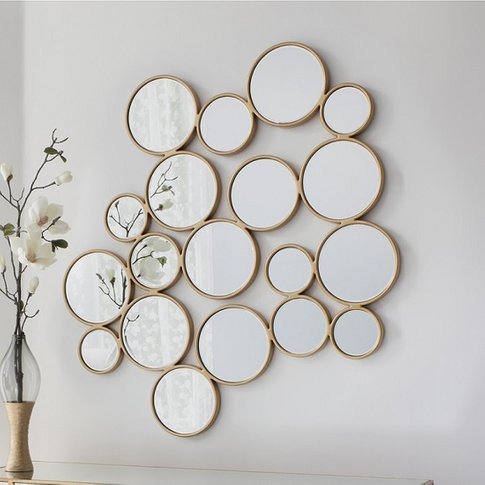 Athlone Contemporary Wall Mirror Bubbles In Soft Gol...