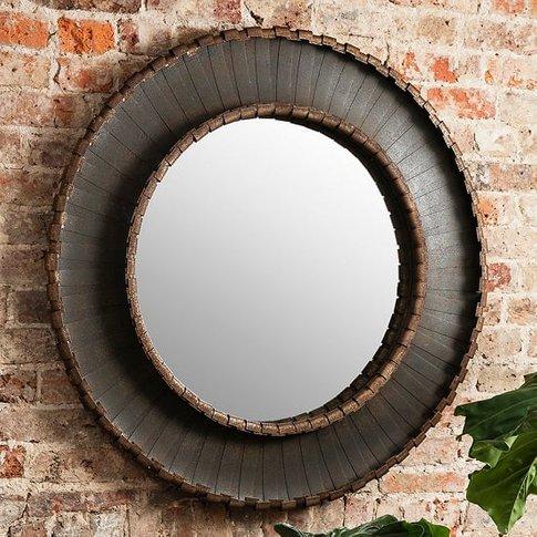 Nuremberg Wall Mirror Round In Rustic Aged Metal