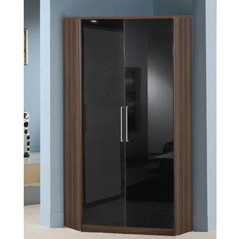 Gastineau Corner Wardrobe In Walnut With Gloss Black...