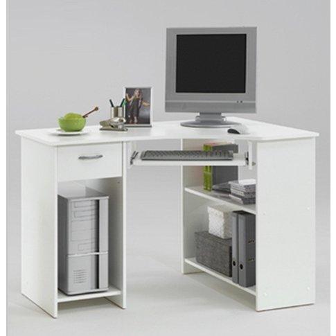 Felix Home Office Wooden Corner Computer Desk In White