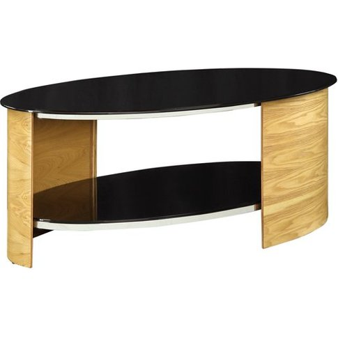Bentwood Coffee Table Oval Shape In Black Glass With...