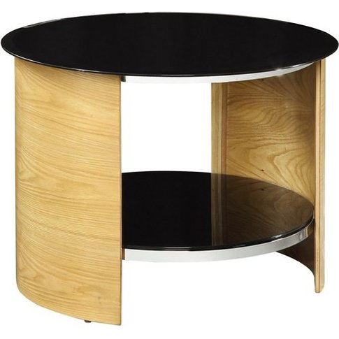 Bentwood Lamp Table Round In Oak With Black Gloss Top