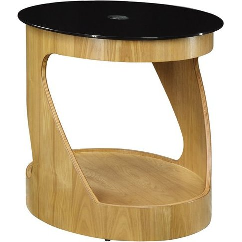 Bentwood Side Table Oval In Black Glass Top With Oak...
