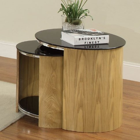 Bentwood Glass Nesting Tables In Oak And Black With ...