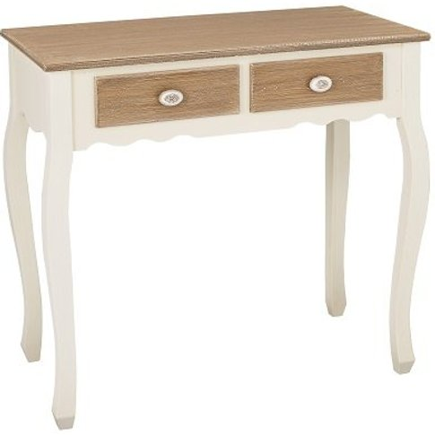 Julian Console Table In Distressed Wooden Top And Cr...