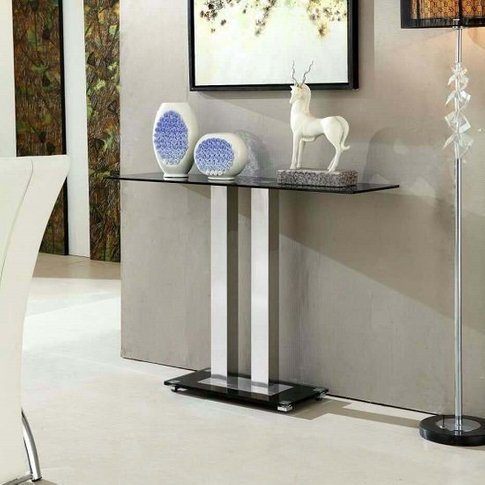 Jet Modern Console Table Rectangular In Black Glass