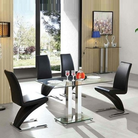 Jet Glass Dining Table Small In Clear With 4 Demi Bl...