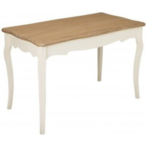 Julian Dining Table In Cream And Distressed Wooden Top