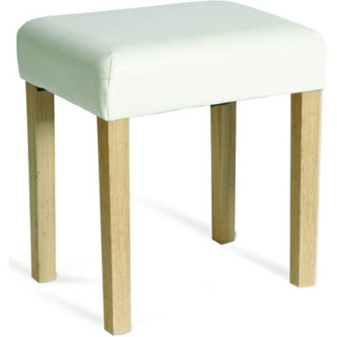 Hamilton Upholstered Stool In Ivory Faux Leather