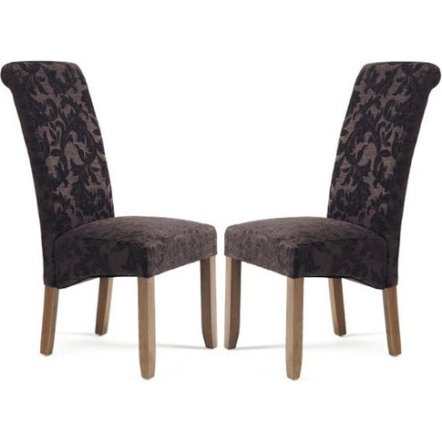 Ameera Dining Chair In Floral Aubergine Fabric Walnu...