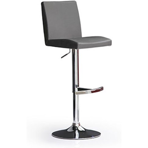 Lopes Grey Bar Stool In Faux Leather With Round Chro...