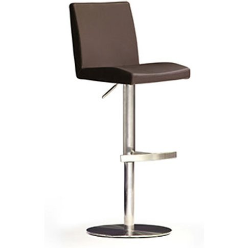 Lopes Brown Bar Stool In Faux Leather With Stainless...