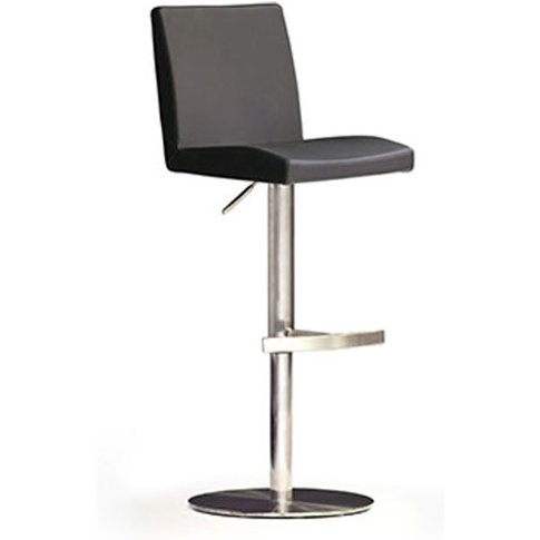 Lopes Black Bar Stool In Faux Leather With Stainless...