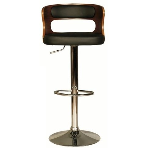 Alston Bar Stool In Walnut And Black Pu With Chrome ...