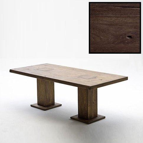 Mancinni 220cm Pedestal Dining Table In Solid Dark Oak
