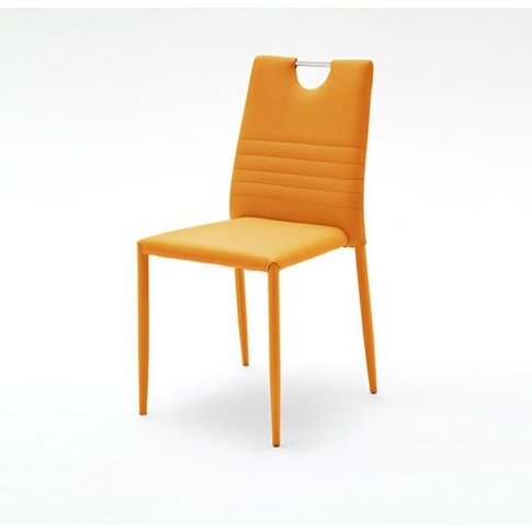 Meda Dining Chair In Orange Tubular With PU Coated